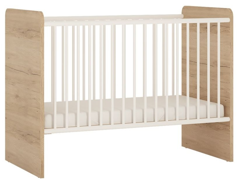 Image of 4Kids Cot Bed - Light Oak and White High Gloss