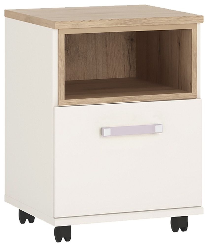 4Kids Light Oak and White Mobile Desk - 1 Door with Lilac Handles