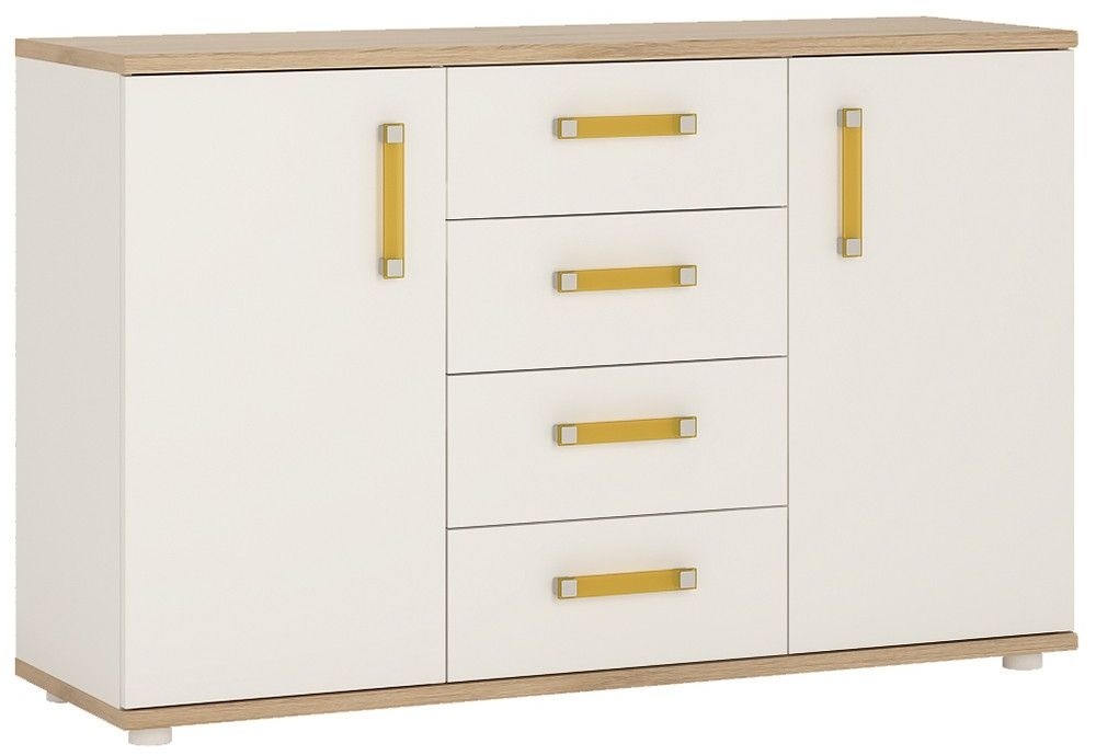 4Kids Light Oak and White Sideboard - 2 Door 4 Drawer with Orange Handles