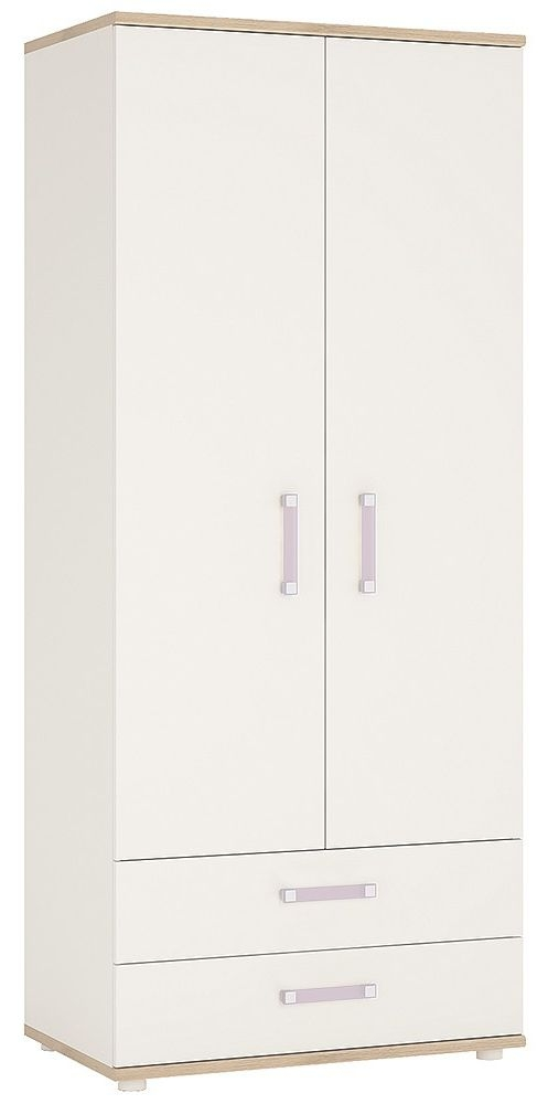 4Kids Wardrobe with Lilac Handles - Light Oak and White High Gloss