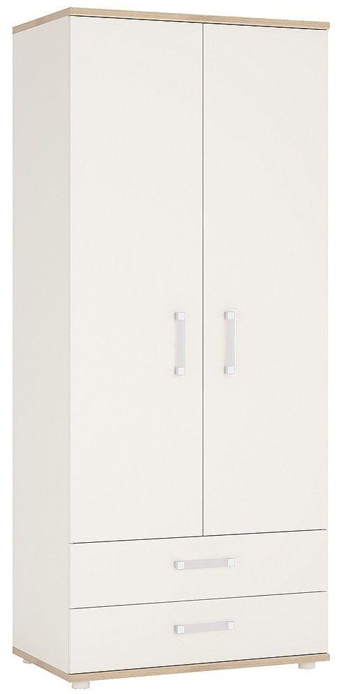 4Kids Wardrobe with Opalino Handles - Light Oak and White High Gloss