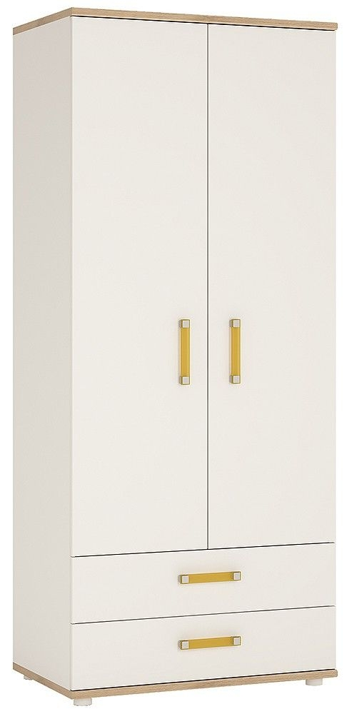 4Kids Wardrobe with Orange Handles - Light Oak and White High Gloss