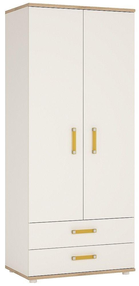 4Kids Light Oak and White Wardrobe - 2 Door 2 Drawer with Orange Handles