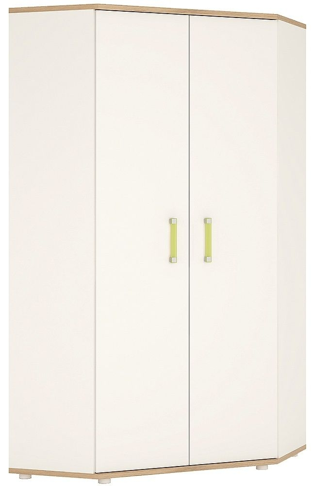 4Kids Corner Wardrobe with Lemon Handles - Light Oak and White High Gloss