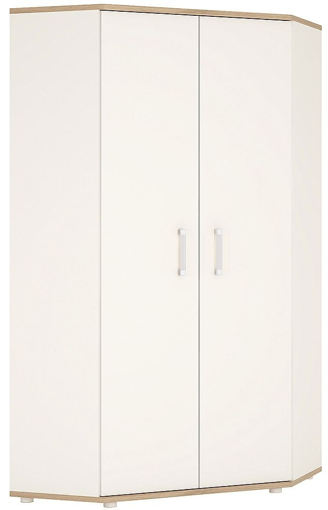 4Kids Corner Wardrobe with Opalino Handles - Light Oak and White High Gloss