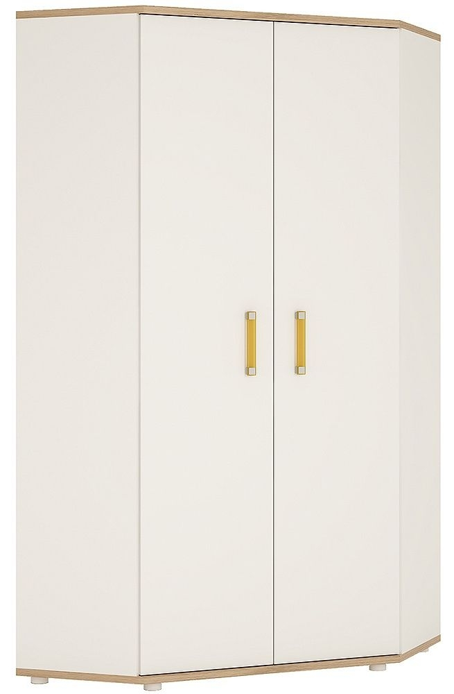 4Kids Corner Wardrobe with Orange Handles - Light Oak and White High Gloss