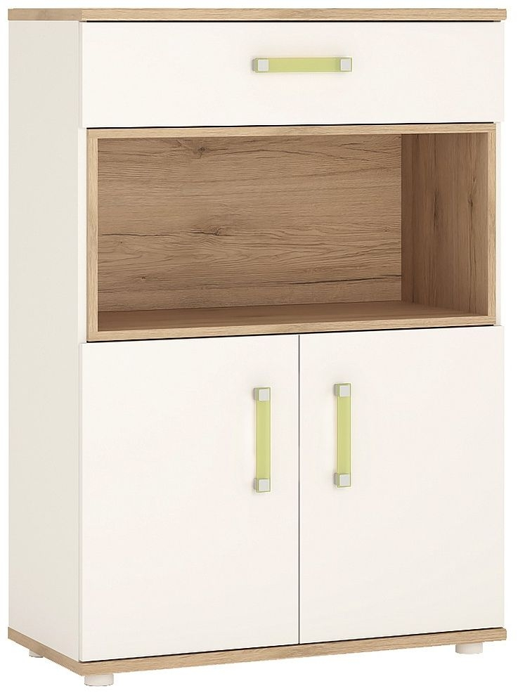 4Kids Cupboard with Lemon Handles - Light Oak and White High Gloss