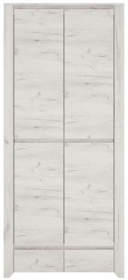 Angel 2 Door Wardrobe - White Crafted Oak Melamine