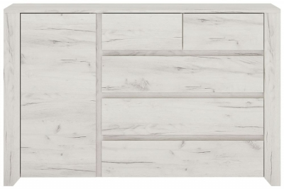 Angel 3+2 Drawer Combi Chest - White Crafted Oak Melamine