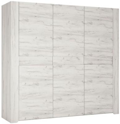 Angel 3 Door Wardrobe - White Crafted Oak Melamine