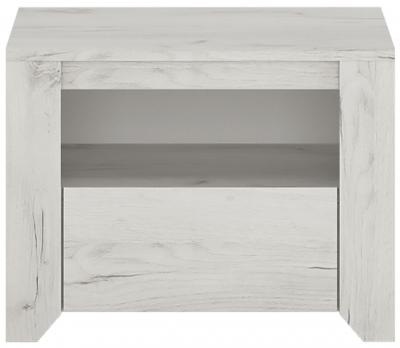Angel Bedside Cabinet - White Crafted Oak Melamine