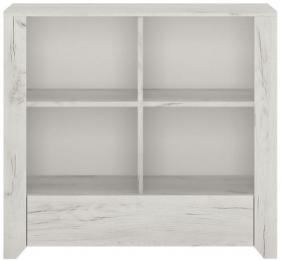 Angel Low Bookcase - White Crafted Oak Melamine