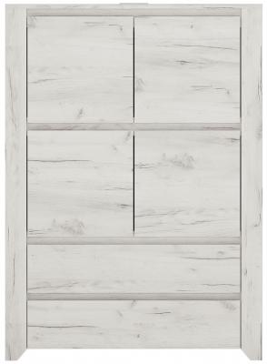 Angel 4 Door Combi Cupboard - White Crafted Oak Melamine