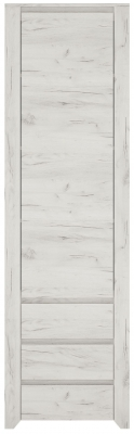 Angel Tall Narrow Cupboard - White Crafted Oak Melamine