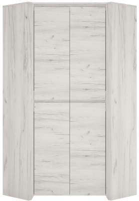 Angel 2 Door Corner Wardrobe - White Crafted Oak Melamine