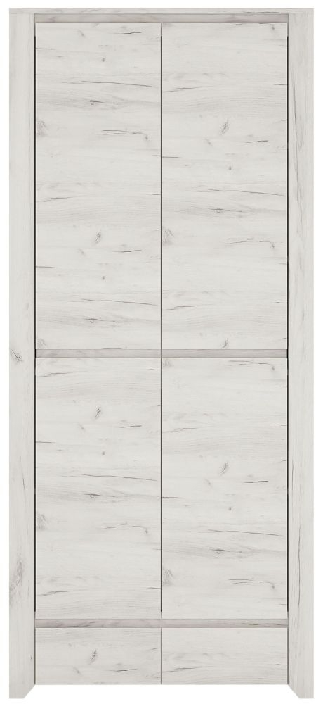 Angel 2 Door Wardrobe - White Crafted Oak Melamine
