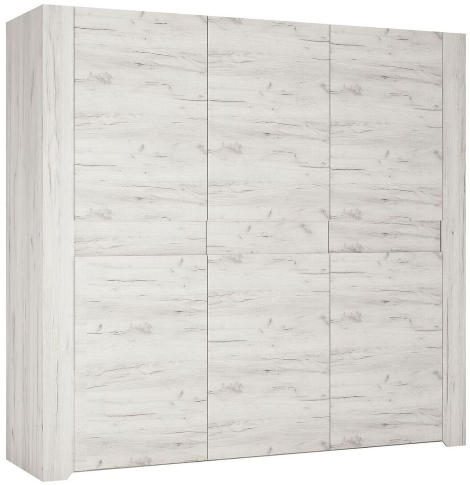 Angel 3 Door Wardrobe - White Crafted Oak Melamine