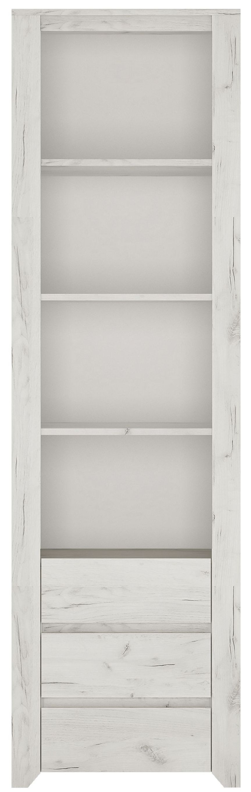 Angel Tall Bookcase - White Crafted Oak Melamine