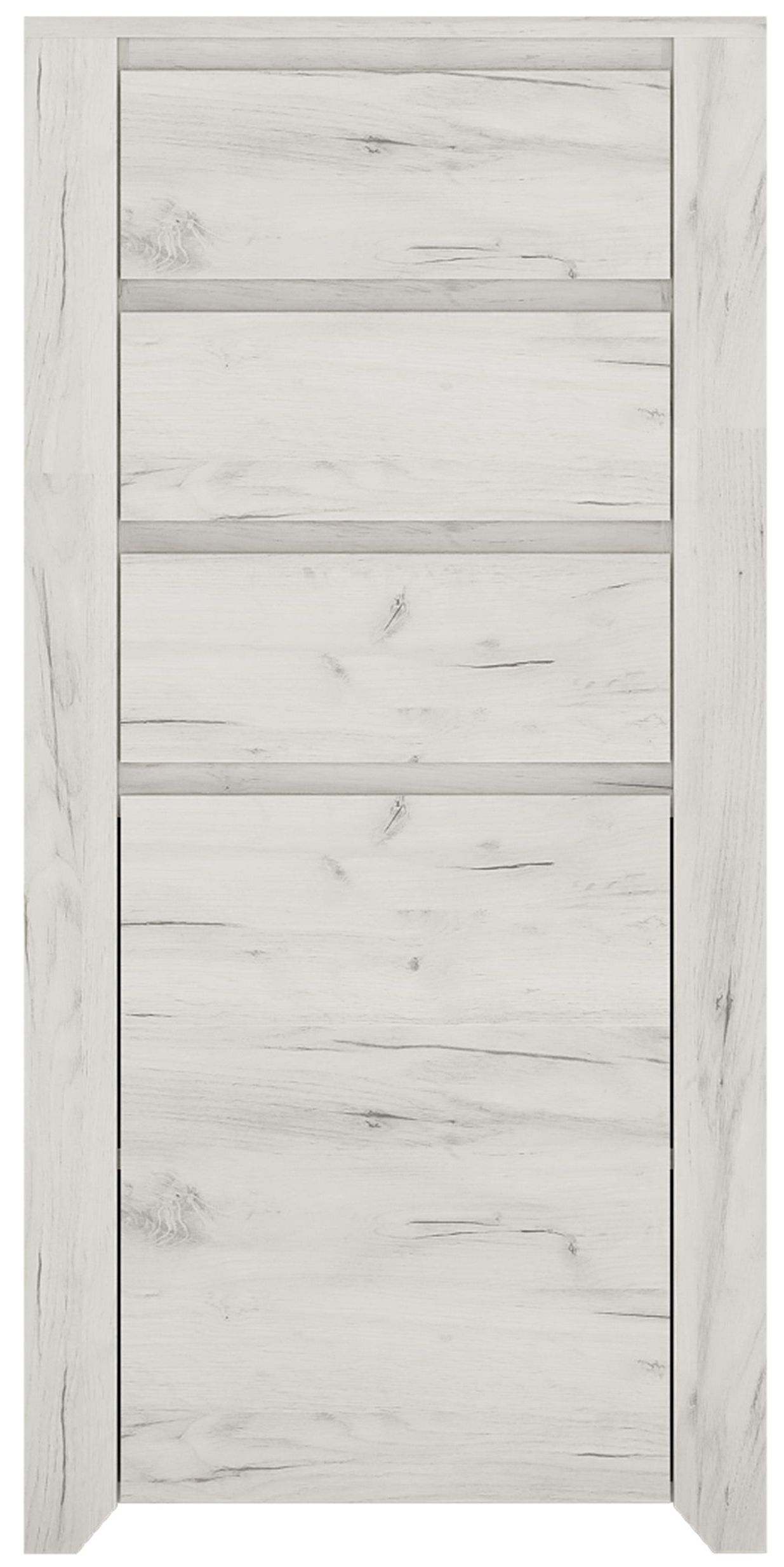 Angel 3 Drawer Combi Chest - White Crafted Oak Melamine