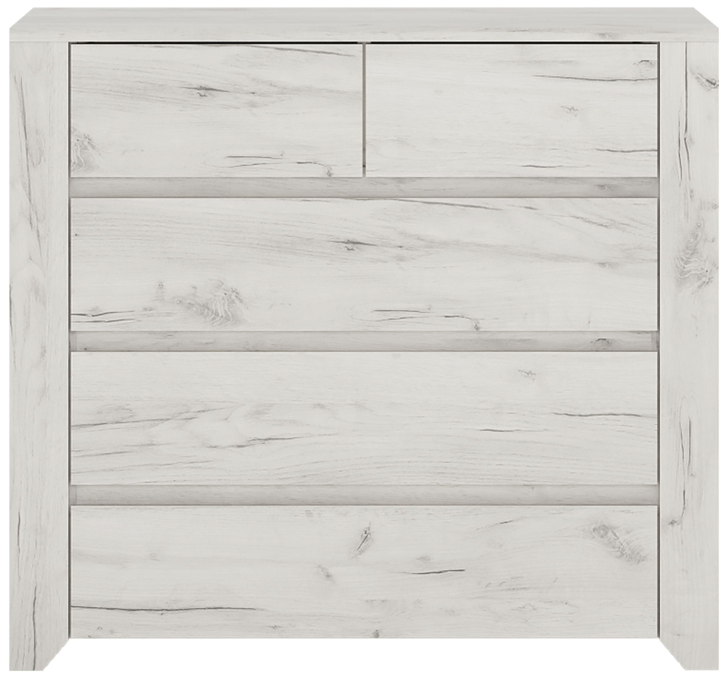 Angel 2+3 Drawer Chest - White Crafted Oak Melamine