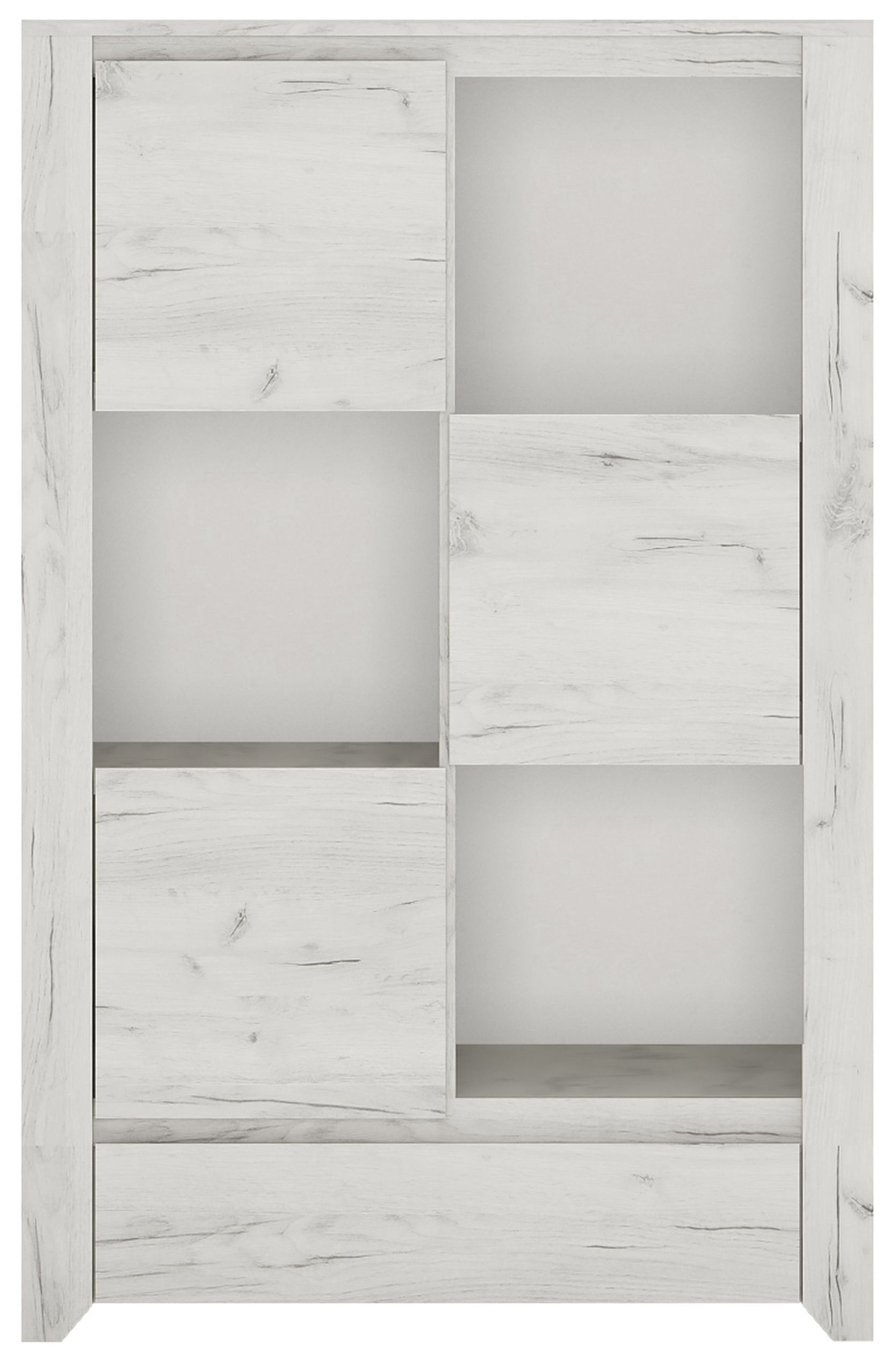 Angel 3 Door Combi Cupboard - White Crafted Oak Melamine
