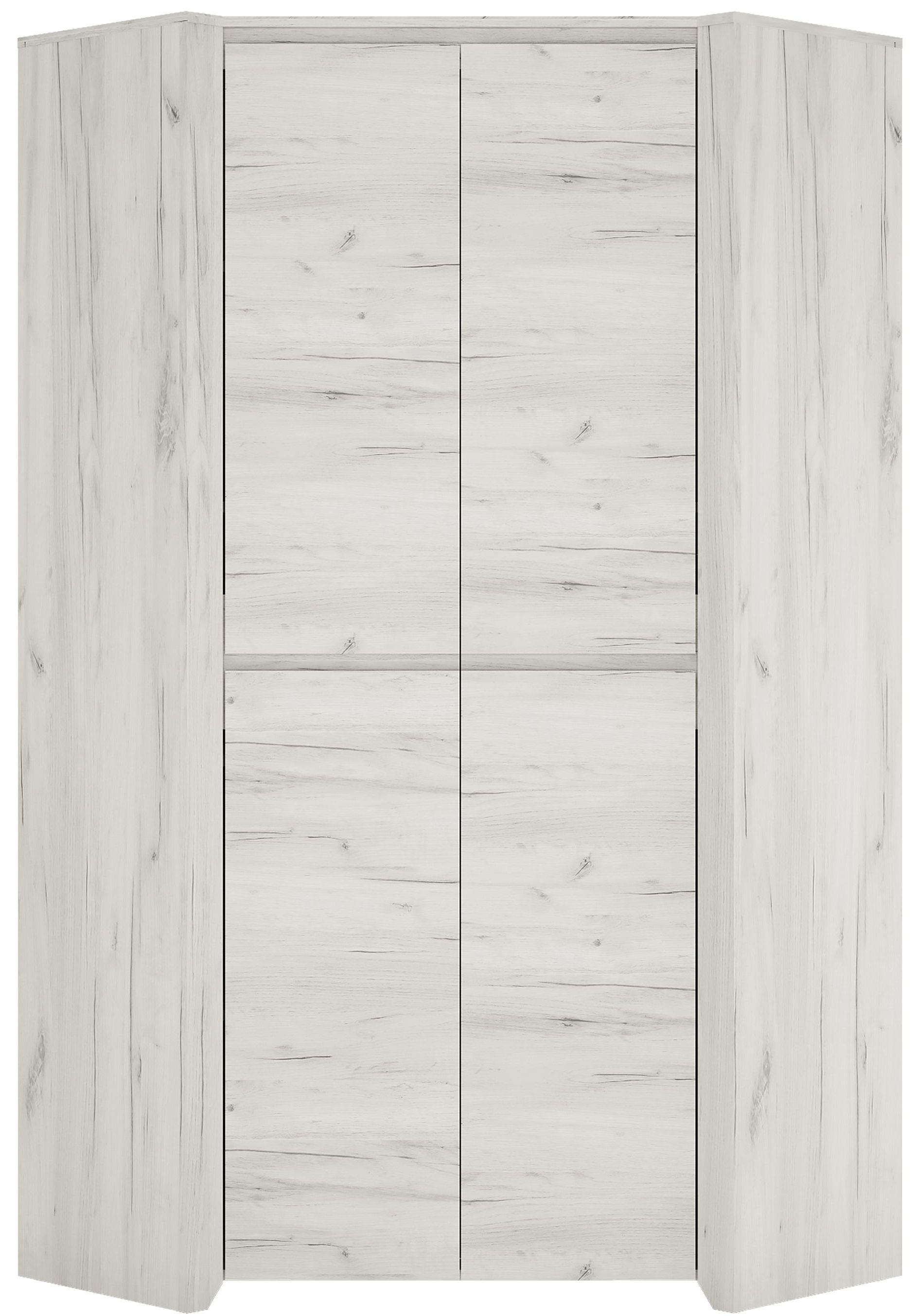 Angel 2 Door Corner Wardrobe - White Crafted Oak Melamine