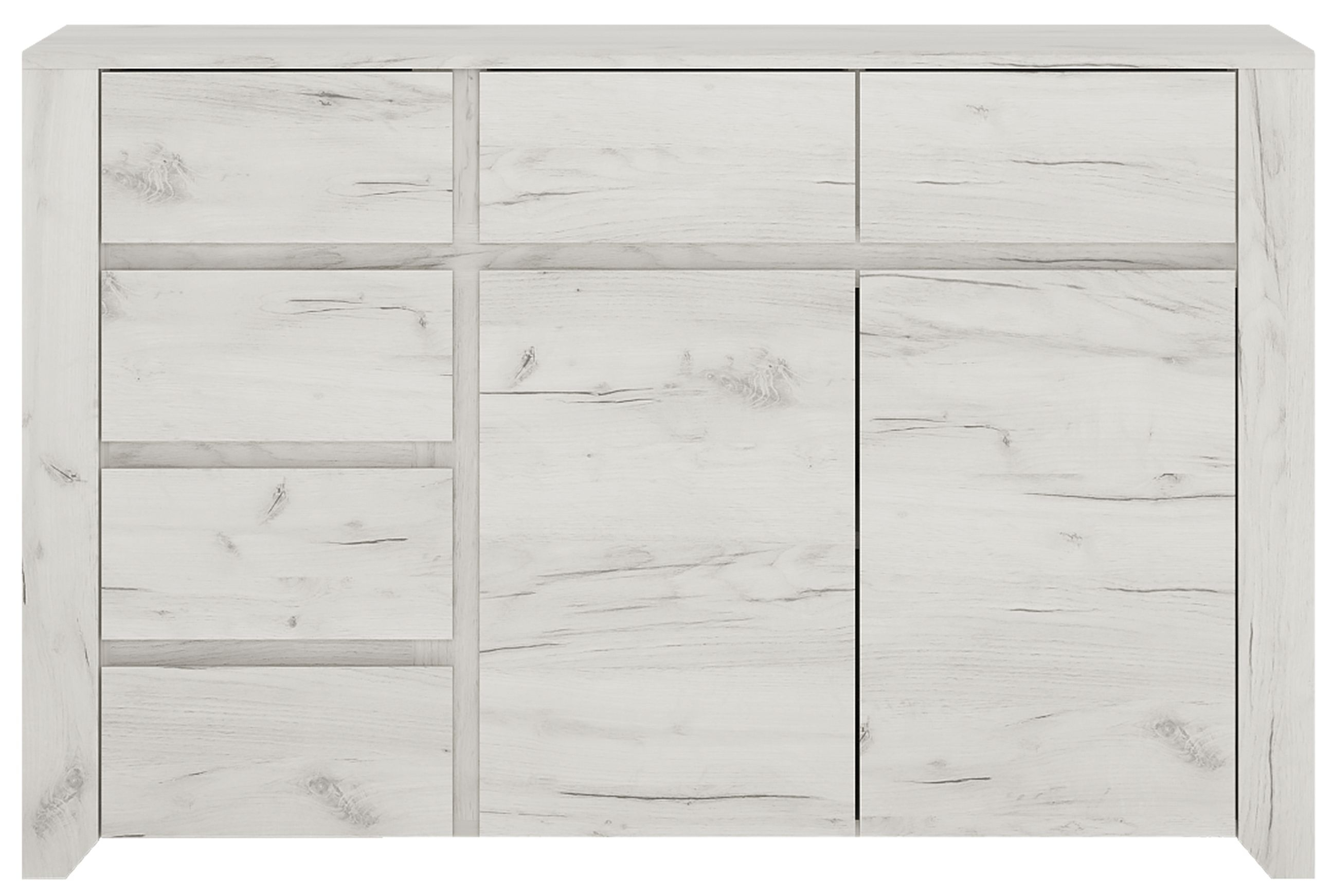 Angel 6 Drawer Combi Wide Chest - White Crafted Oak Melamine