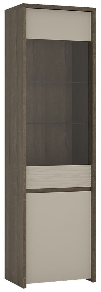 Salerno Tall Glazed Display Cabinet - Riviera Oak