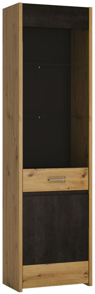 Aviles Tall Display Cabinet - Artisan Oak and Dark Accents