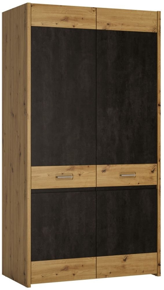 Aviles 2 Door Wardrobe - Artisan Oak and Dark Accents