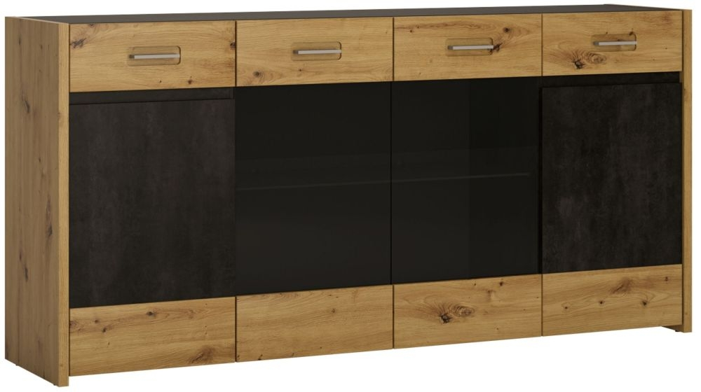 Aviles Wide Sideboard - Artisan Oak and Dark Accents