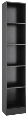 Basic Black Woodgrain Tall Narrow Bookcase