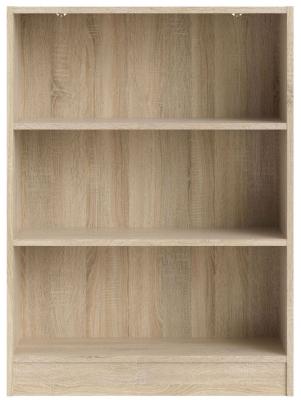 Basic Oak Low Wide Bookcase