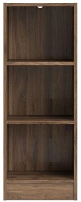 Basic Walnut Low Narrow Bookcase