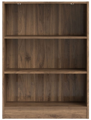 Basic Walnut Low Wide Bookcase