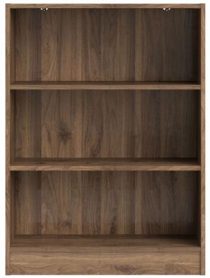 Basic Walnut Low Wide Bookcase