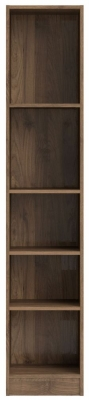 Basic Walnut Tall Narrow Bookcase