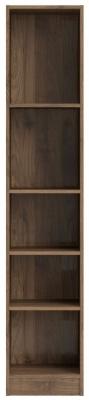 Basic Walnut Tall Narrow Bookcase
