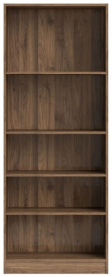 Basic Walnut Tall Wide Bookcase