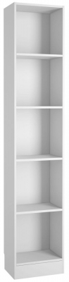 Basic White Tall Narrow Bookcase