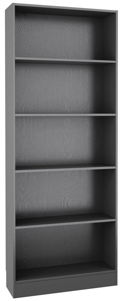 Basic Black Woodgrain Tall Wide Bookcase