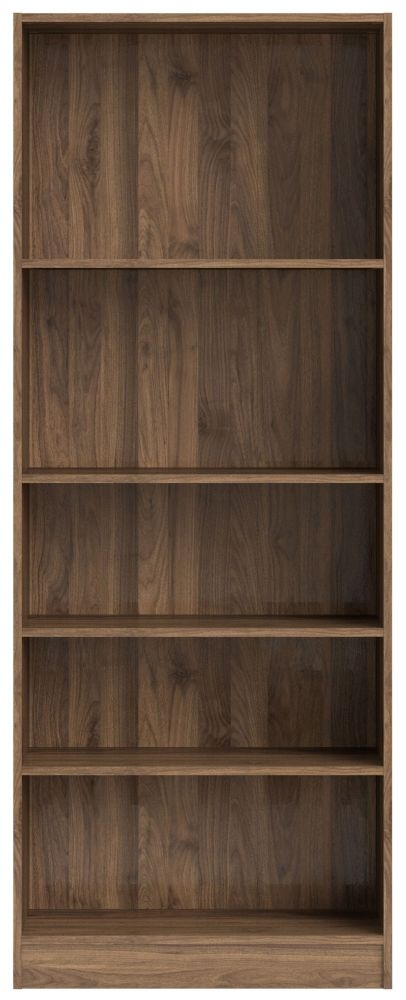 Basic Walnut Tall Wide Bookcase