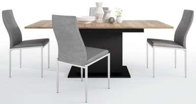 Brolo Extending Dining Table and 6 Milan Dark Grey Chairs - Walnut and Dark