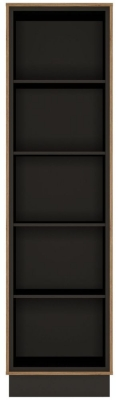 Brolo Tall Bookcase - Dark Walnut and High Gloss White