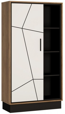 Brolo Wide Bookcase - Dark Walnut and High Gloss White