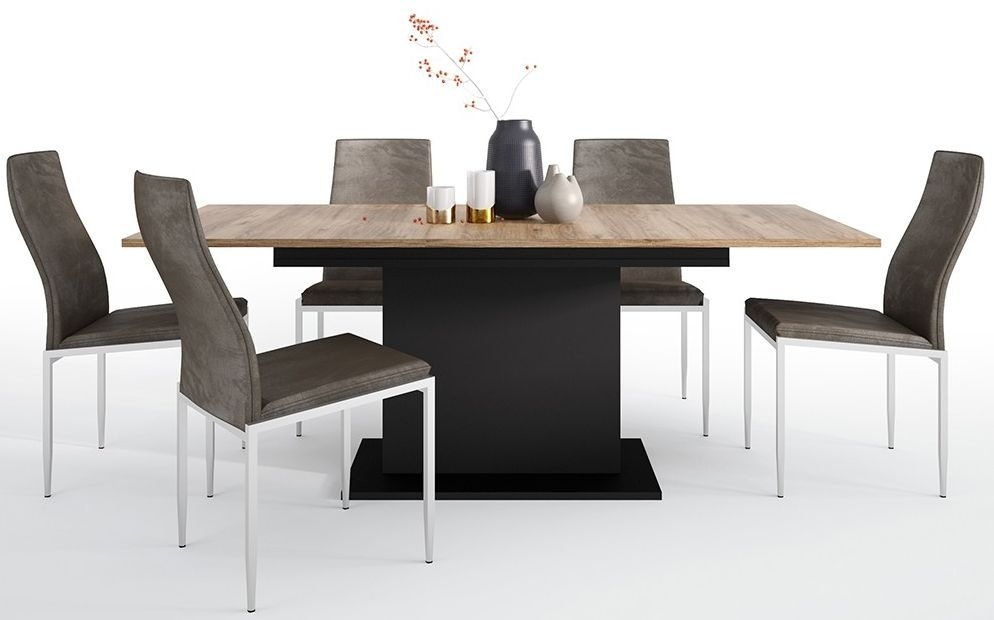 Brolo Extending Dining Table and 4 Milan Dark Brown Chairs - Walnut and Dark