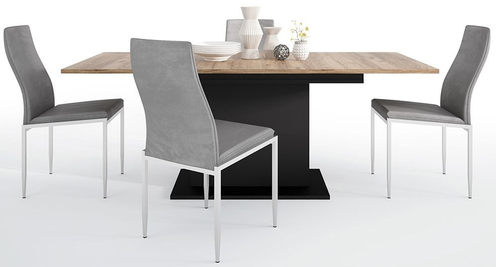 Brolo Extending Dining Table and 4 Milan Grey Chairs - Walnut and Dark