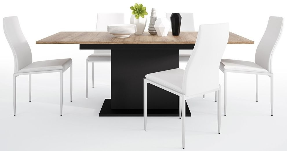 Brolo Extending Dining Table and 6 Milan White Chairs - Walnut and Dark