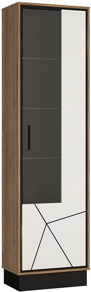 Brolo Glazed Right Hand Facing Display Cabinet - Dark Walnut and High Gloss White
