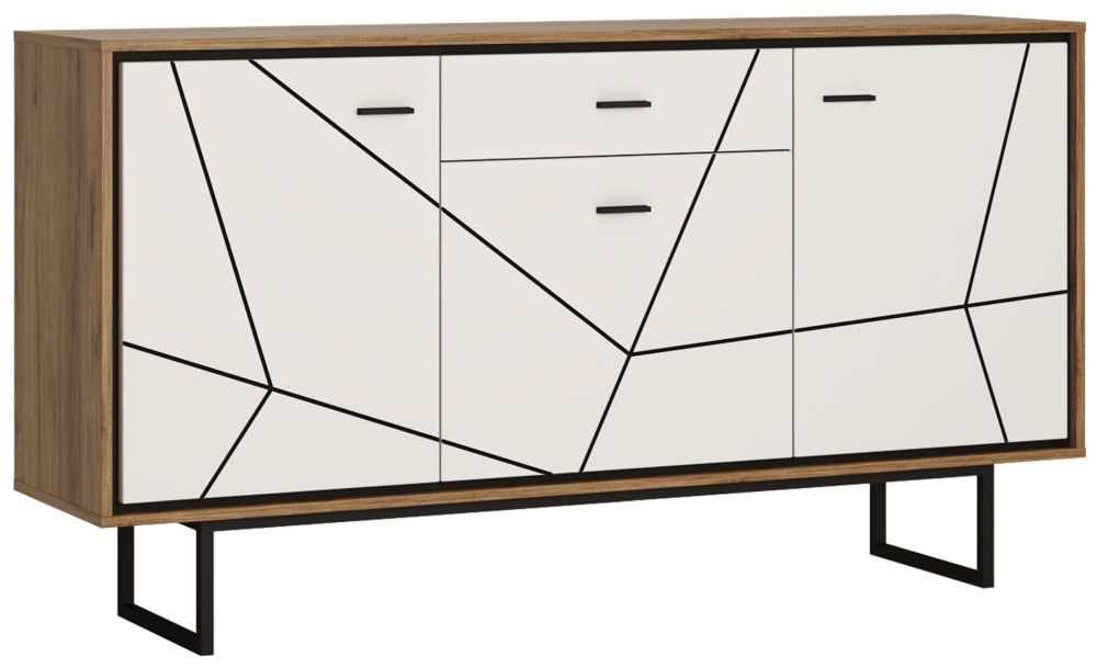 Brolo Sideboard - Dark Walnut and High Gloss White